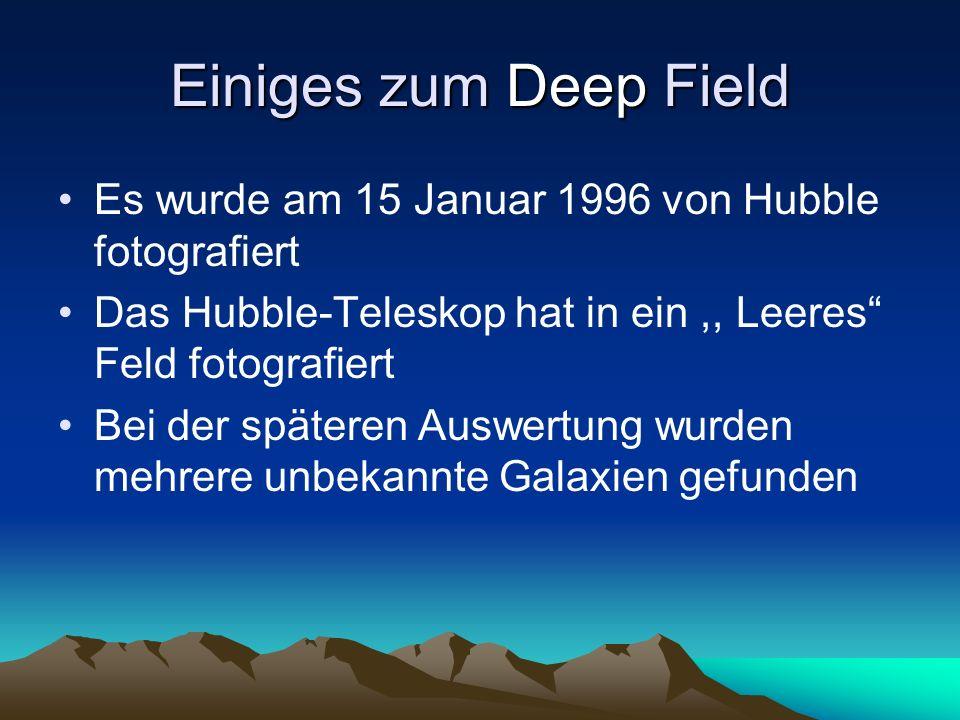 Einiges zum Deep Field Es wurde am 15 Januar 1996 von Hubble fotografiert Das Hubble-Teleskop hat in ein,, Leeres Feld fotografiert Bei der späteren A