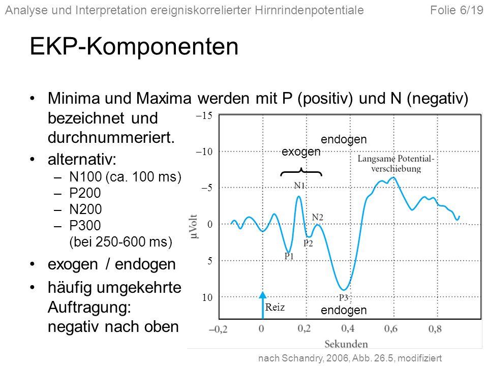 Analyse und Interpretation ereigniskorrelierter HirnrindenpotentialeFolie 6/19 EKP-Komponenten Minima und Maxima werden mit P (positiv) und N (negativ) bezeichnet und durchnummeriert.