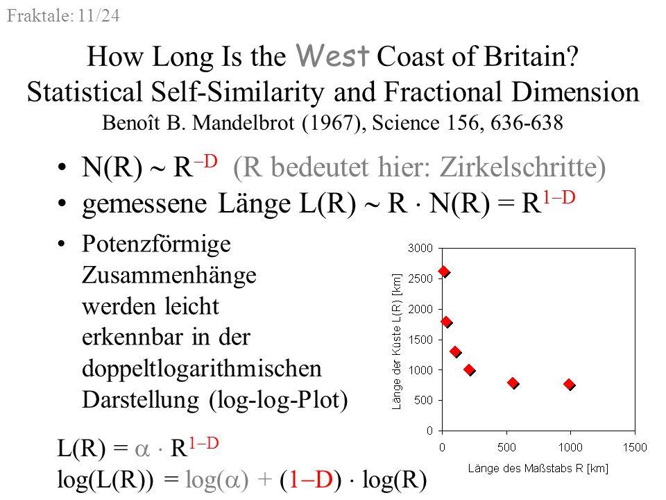 Fraktale: 11/24 Potenzförmige Zusammenhänge werden leicht erkennbar in der How Long Is the West Coast of Britain? Statistical Self-Similarity and Frac