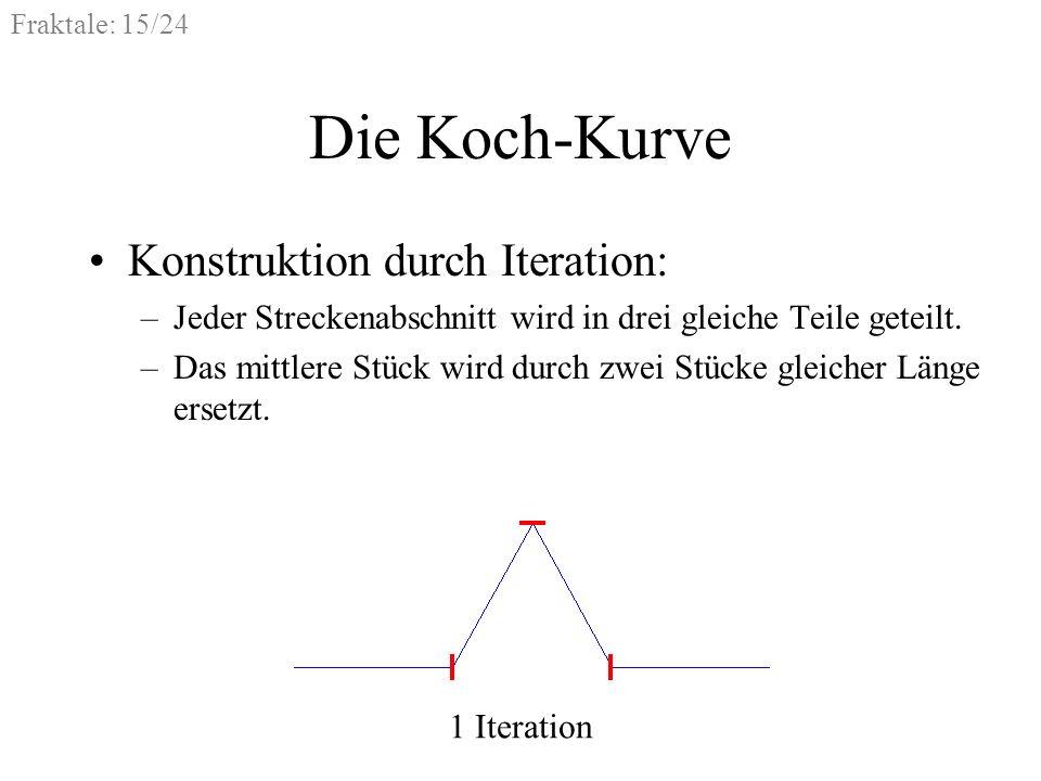 Fraktale: 15/24 Die Koch-Kurve Konstruktion durch Iteration: –Jeder Streckenabschnitt wird in drei gleiche Teile geteilt. –Das mittlere Stück wird dur