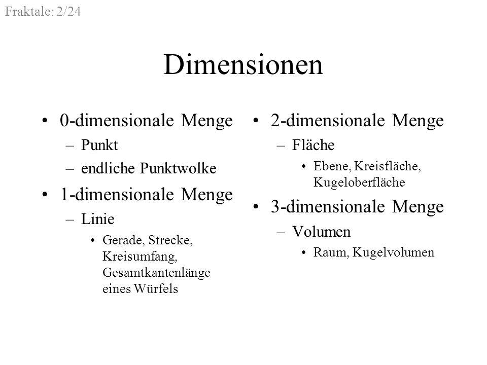 Fraktale: 2/24 Dimensionen 0-dimensionale Menge –Punkt –endliche Punktwolke 1-dimensionale Menge –Linie Gerade, Strecke, Kreisumfang, Gesamtkantenläng