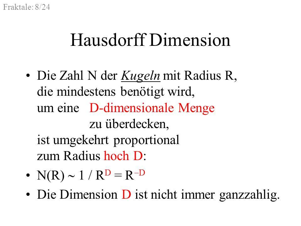 Fraktale: 8/24 Hausdorff Dimension Die Zahl N der Kugeln mit Radius R, die mindestens benötigt wird, um eine D-dimensionale Menge zu überdecken, ist u