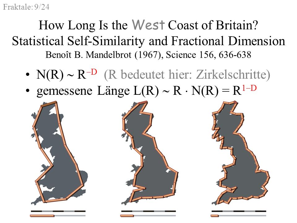 Fraktale: 9/24 How Long Is the West Coast of Britain? Statistical Self-Similarity and Fractional Dimension Benoît B. Mandelbrot (1967), Science 156, 6