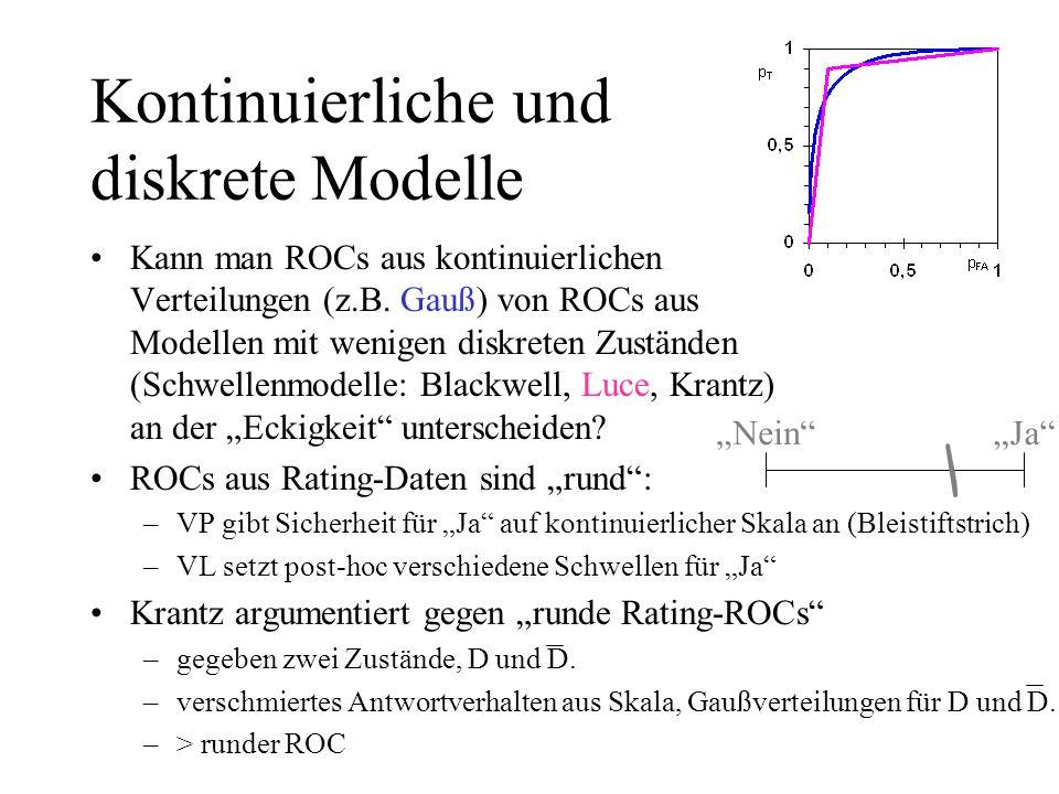 Kontinuierliche und diskrete Modelle Kann man ROCs aus kontinuierlichen Verteilungen (z.B. Gauß) von ROCs aus Modellen mit wenigen diskreten Zuständen