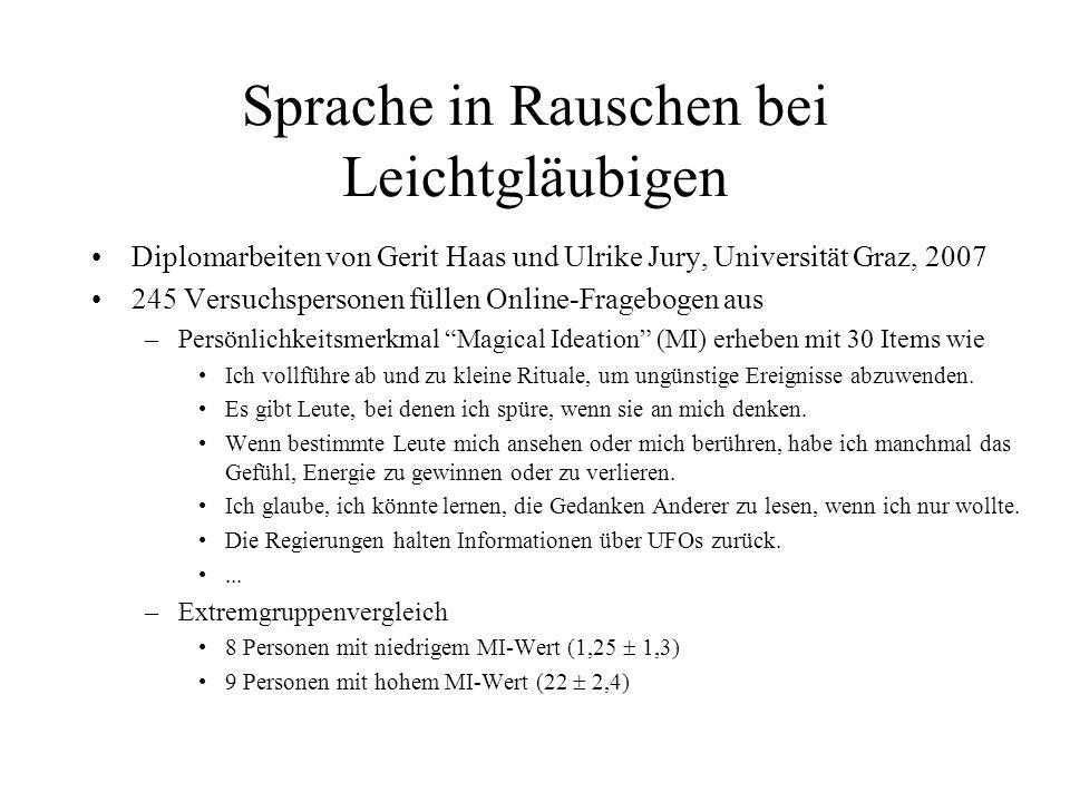Sprache in Rauschen bei Leichtgläubigen Diplomarbeiten von Gerit Haas und Ulrike Jury, Universität Graz, 2007 245 Versuchspersonen füllen Online-Frage