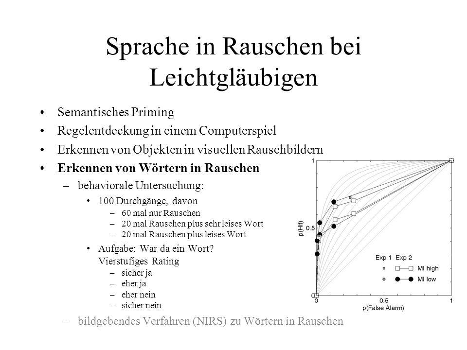 Sprache in Rauschen bei Leichtgläubigen Semantisches Priming Regelentdeckung in einem Computerspiel Erkennen von Objekten in visuellen Rauschbildern E
