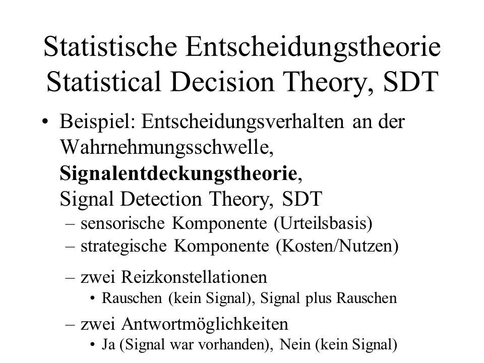 Statistische Entscheidungstheorie Statistical Decision Theory, SDT Beispiel: Entscheidungsverhalten an der Wahrnehmungsschwelle, Signalentdeckungstheo