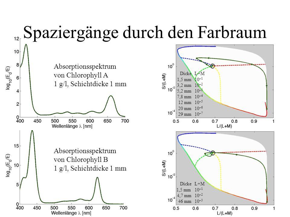 Absorptionsspektrum von Chlorophyll A 1 g/l, Schichtdicke 1 mm Spaziergänge durch den Farbraum DickeL+M 1,5 mm10 –1 3,2 mm10 –2 5,2 mm10 –3 7,8 mm10 –