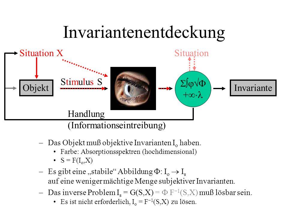 Invariantenentdeckung –Das Objekt muß objektive Invarianten I o haben. Farbe: Absorptionsspektren (hochdimensional) S = F(I o,X) –Es gibt eine stabile