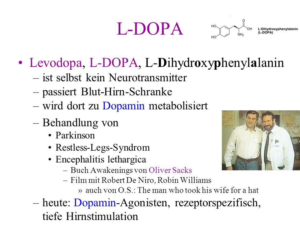 L-DOPA Levodopa, L-DOPA, L-Dihydroxyphenylalanin –ist selbst kein Neurotransmitter –passiert Blut-Hirn-Schranke –wird dort zu Dopamin metabolisiert –B