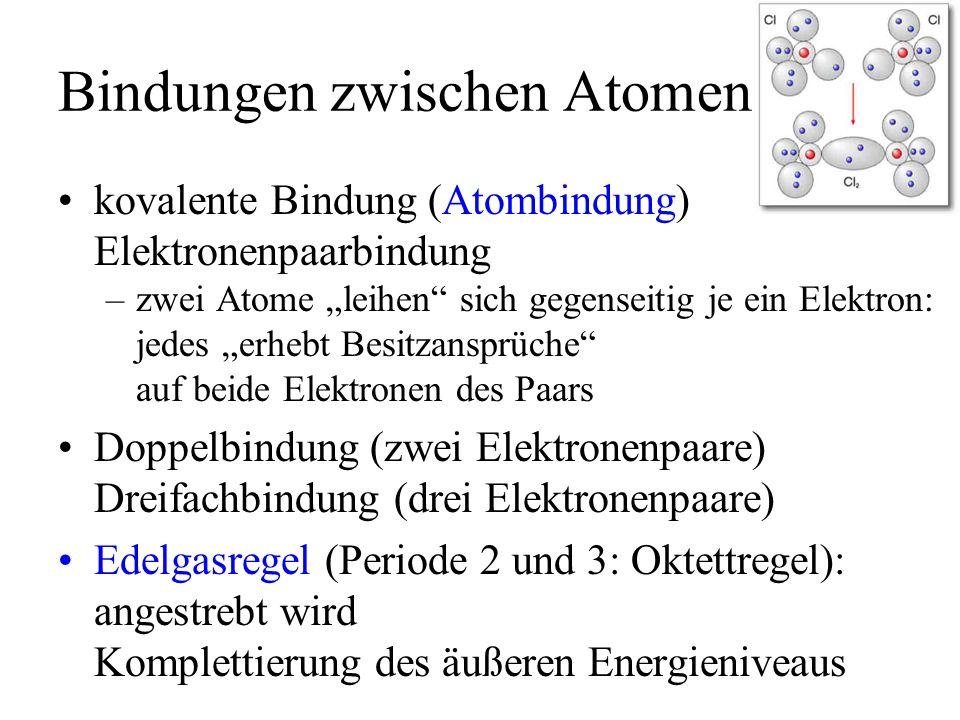 Bindungen zwischen Atomen kovalente Bindung (Atombindung) Elektronenpaarbindung –zwei Atome leihen sich gegenseitig je ein Elektron: jedes erhebt Besi