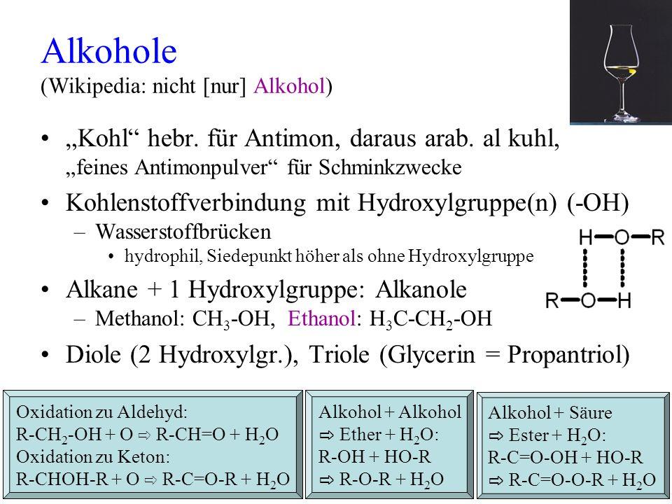 Alkohole (Wikipedia: nicht [nur] Alkohol) Kohl hebr. für Antimon, daraus arab. al kuhl, feines Antimonpulver für Schminkzwecke Kohlenstoffverbindung m