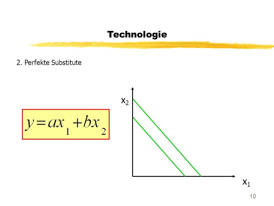 10 Technologie 2. Perfekte Substitute x2x2 x1x1