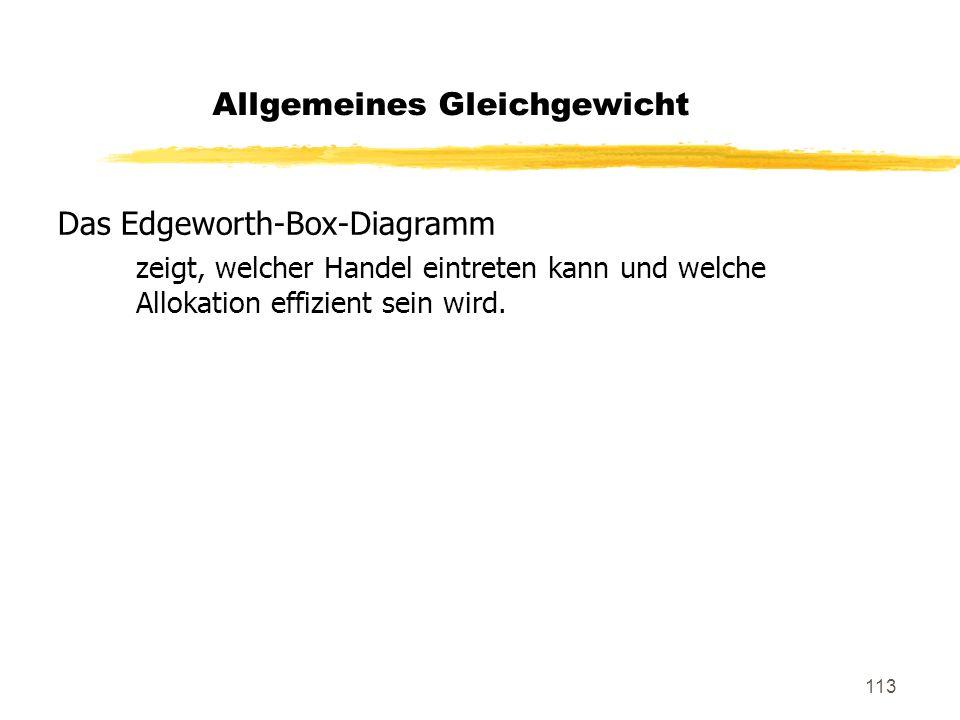 113 Das Edgeworth-Box-Diagramm zeigt, welcher Handel eintreten kann und welche Allokation effizient sein wird. Allgemeines Gleichgewicht