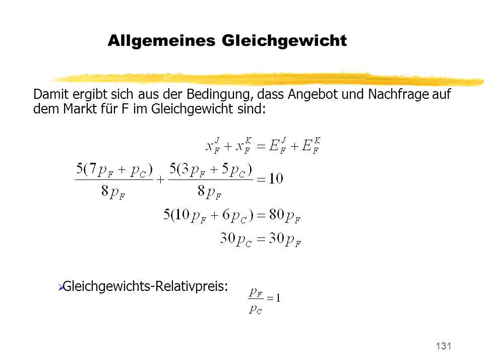 131 Damit ergibt sich aus der Bedingung, dass Angebot und Nachfrage auf dem Markt für F im Gleichgewicht sind: Gleichgewichts-Relativpreis: Allgemeine