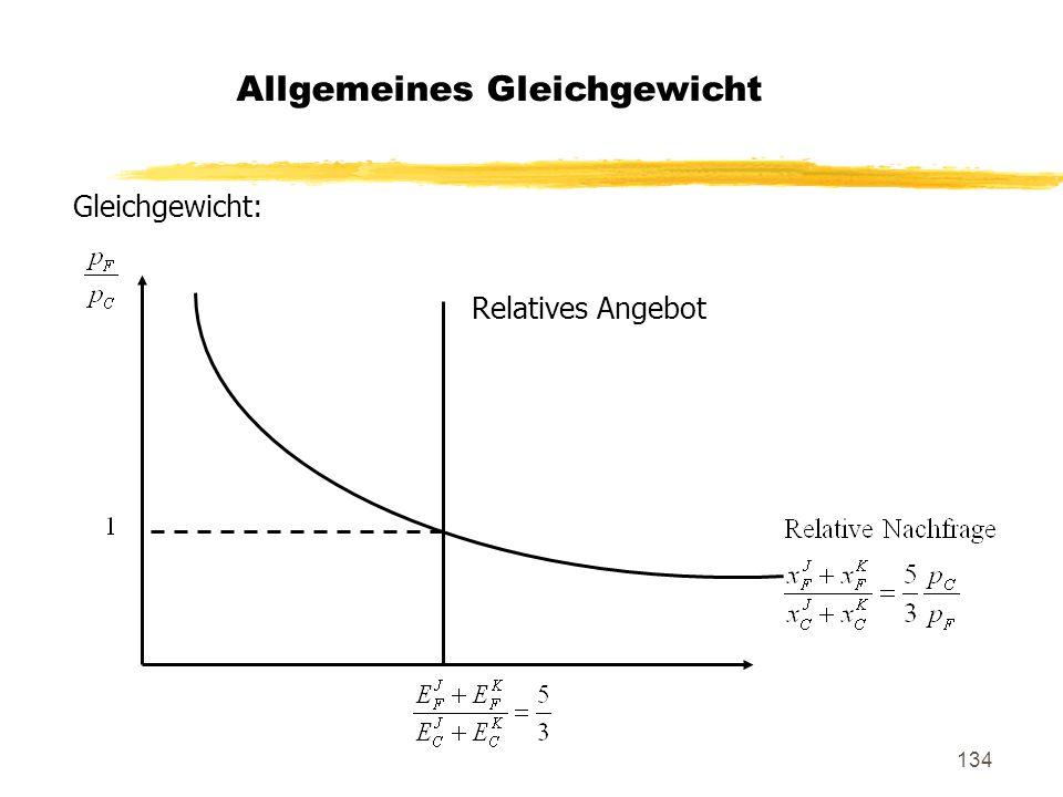134 Gleichgewicht: Allgemeines Gleichgewicht Relatives Angebot