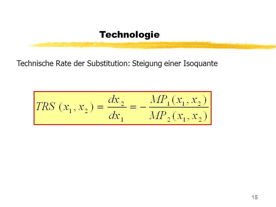 15 Technologie Technische Rate der Substitution: Steigung einer Isoquante