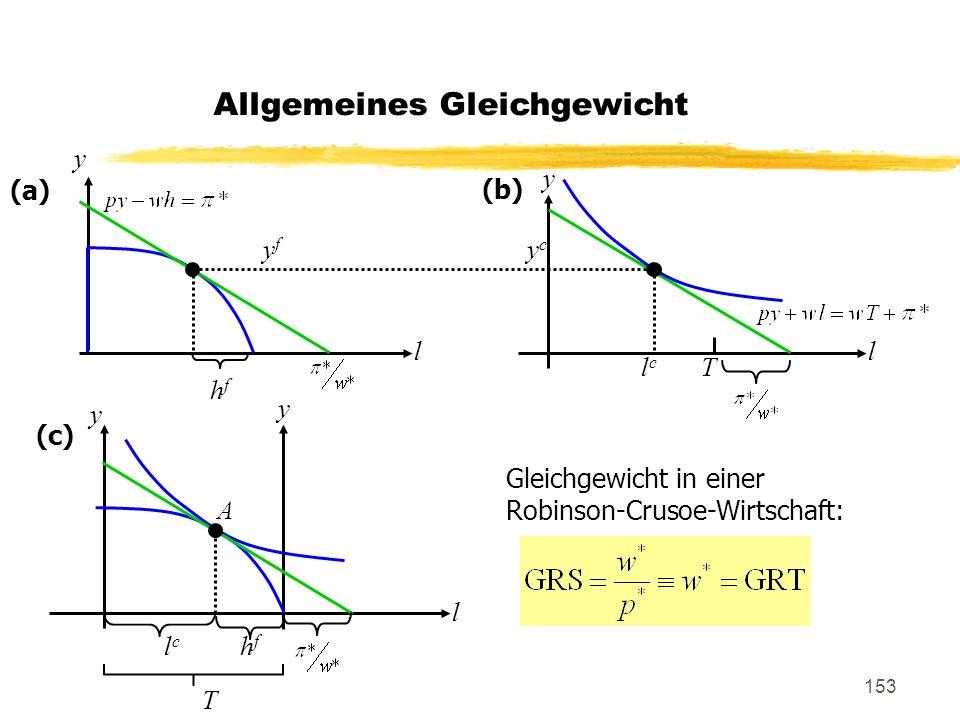 153 y y y y ll l lclc T lclc hfhf T A yfyf ycyc (a) (b) (c) Gleichgewicht in einer Robinson-Crusoe-Wirtschaft: hfhf Allgemeines Gleichgewicht