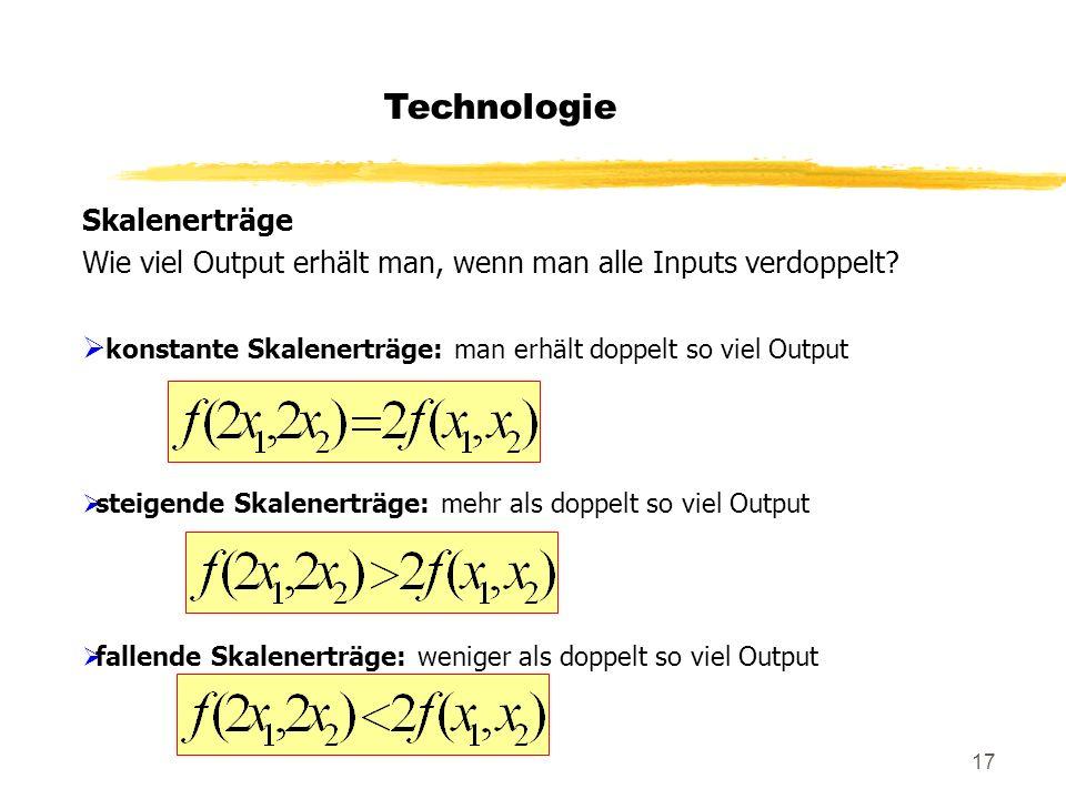 17 Technologie Skalenerträge Wie viel Output erhält man, wenn man alle Inputs verdoppelt? konstante Skalenerträge: man erhält doppelt so viel Output s