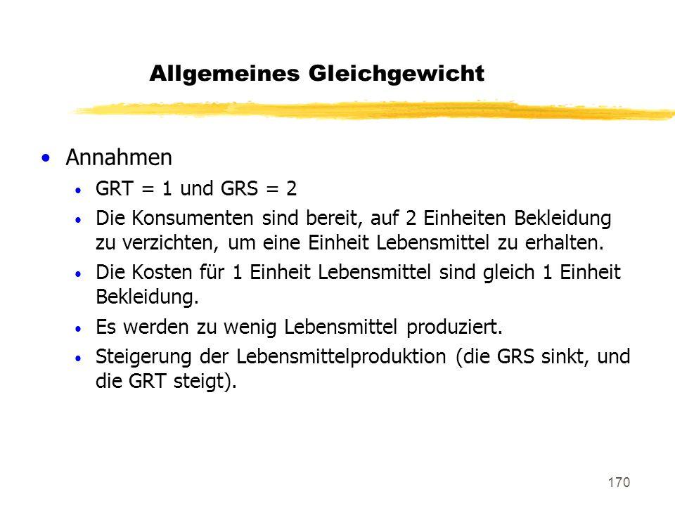 170 Annahmen GRT = 1 und GRS = 2 Die Konsumenten sind bereit, auf 2 Einheiten Bekleidung zu verzichten, um eine Einheit Lebensmittel zu erhalten. Die