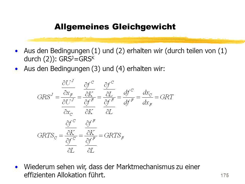 175 Allgemeines Gleichgewicht Aus den Bedingungen (1) und (2) erhalten wir (durch teilen von (1) durch (2)): GRS J =GRS K Aus den Bedingungen (3) und