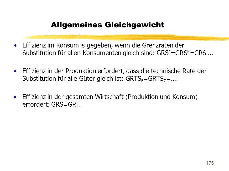 176 Allgemeines Gleichgewicht Effizienz im Konsum is gegeben, wenn die Grenzraten der Substitution für allen Konsumenten gleich sind: GRS J =GRS K =GR