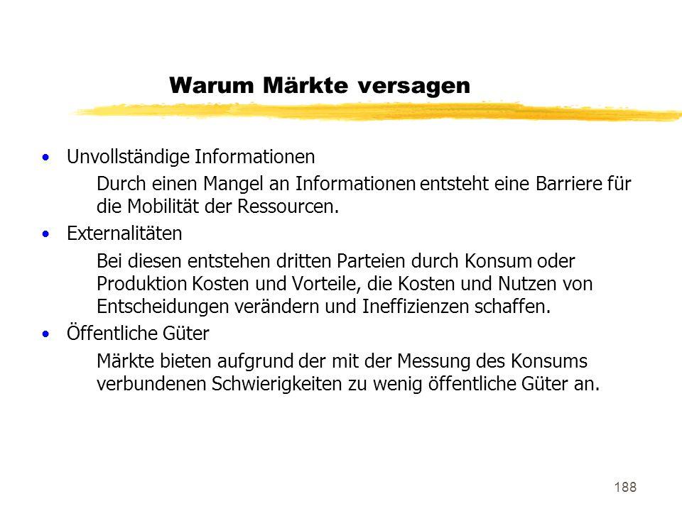188 Warum Märkte versagen Unvollständige Informationen Durch einen Mangel an Informationen entsteht eine Barriere für die Mobilität der Ressourcen. Ex