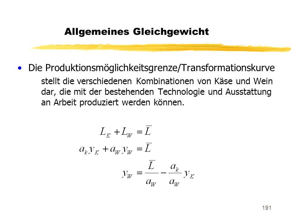 191 Die Produktionsmöglichkeitsgrenze/Transformationskurve stellt die verschiedenen Kombinationen von Käse und Wein dar, die mit der bestehenden Techn