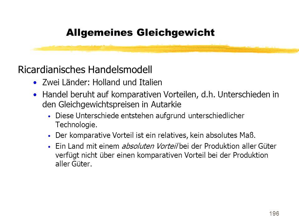 196 Ricardianisches Handelsmodell Zwei Länder: Holland und Italien Handel beruht auf komparativen Vorteilen, d.h. Unterschieden in den Gleichgewichtsp