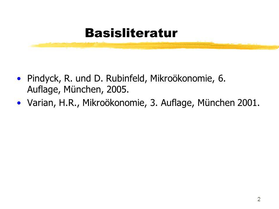 2 Basisliteratur Pindyck, R. und D. Rubinfeld, Mikroökonomie, 6. Auflage, München, 2005. Varian, H.R., Mikroökonomie, 3. Auflage, München 2001.