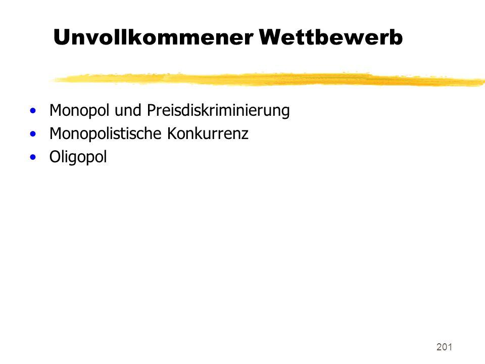 201 Unvollkommener Wettbewerb Monopol und Preisdiskriminierung Monopolistische Konkurrenz Oligopol