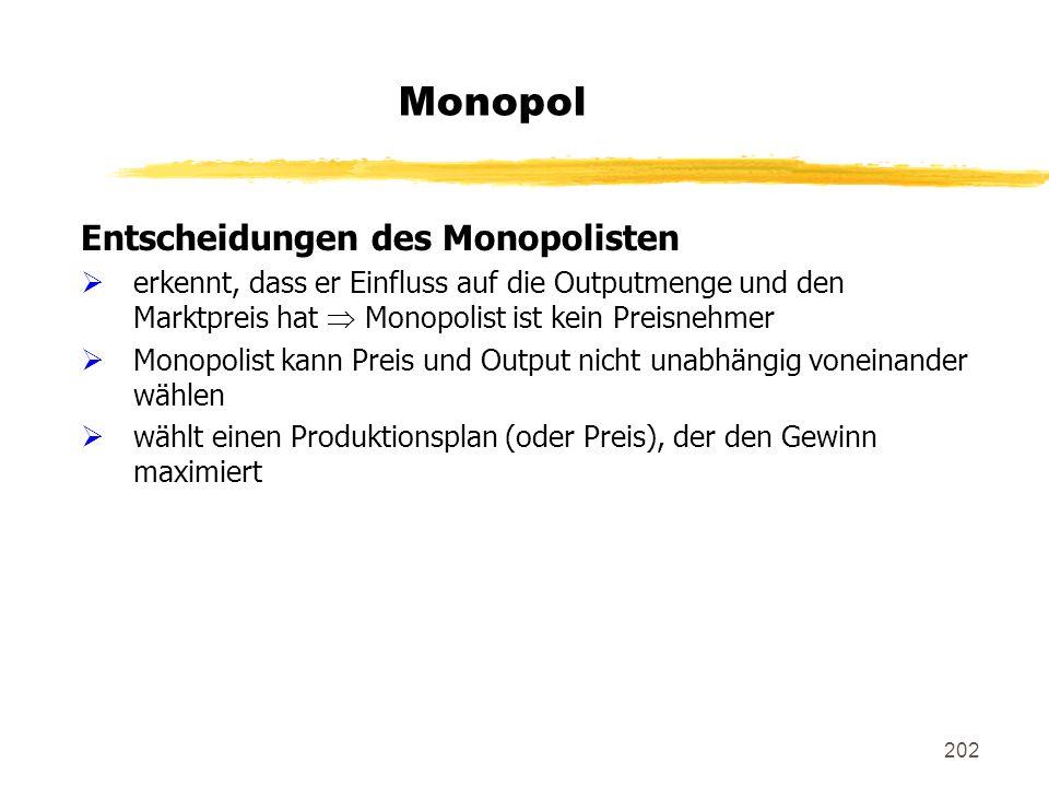 202 Monopol Entscheidungen des Monopolisten erkennt, dass er Einfluss auf die Outputmenge und den Marktpreis hat Monopolist ist kein Preisnehmer Monop