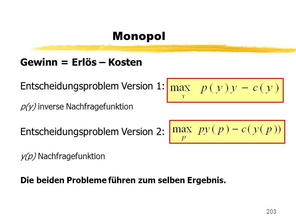 203 Monopol Gewinn = Erlös – Kosten Entscheidungsproblem Version 1: p(y) inverse Nachfragefunktion Entscheidungsproblem Version 2: y(p) Nachfragefunkt
