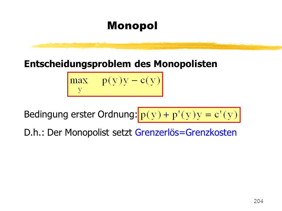 204 Monopol Entscheidungsproblem des Monopolisten Bedingung erster Ordnung: D.h.: Der Monopolist setzt Grenzerlös=Grenzkosten
