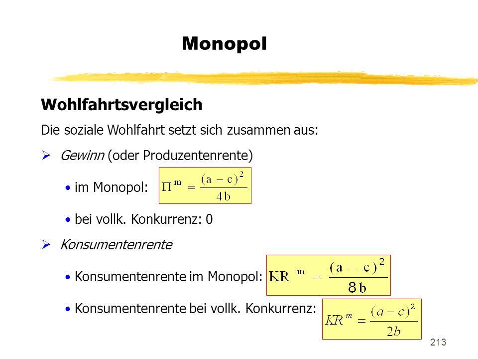 213 Monopol Wohlfahrtsvergleich Die soziale Wohlfahrt setzt sich zusammen aus: Gewinn (oder Produzentenrente) im Monopol: bei vollk. Konkurrenz: 0 Kon