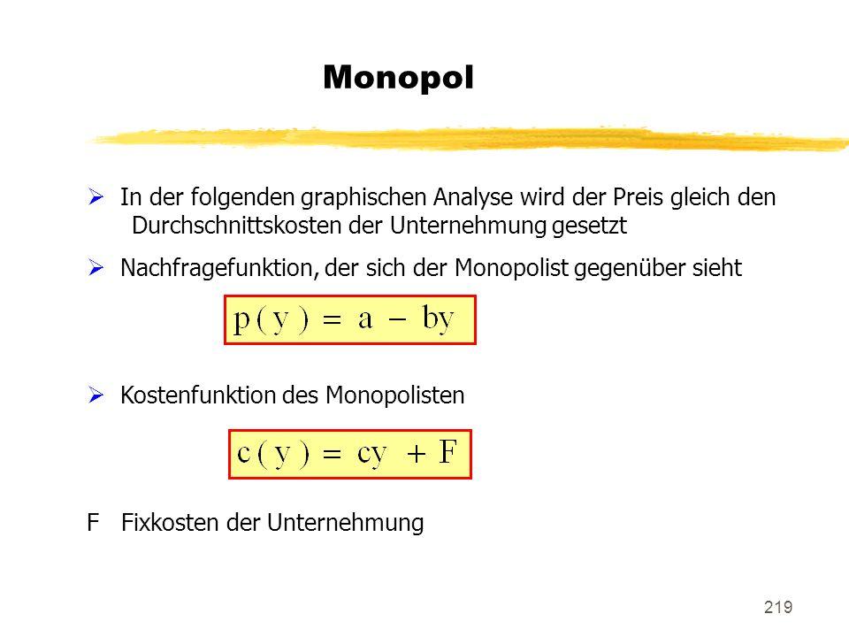 219 Monopol In der folgenden graphischen Analyse wird der Preis gleich den Durchschnittskosten der Unternehmung gesetzt Nachfragefunktion, der sich de