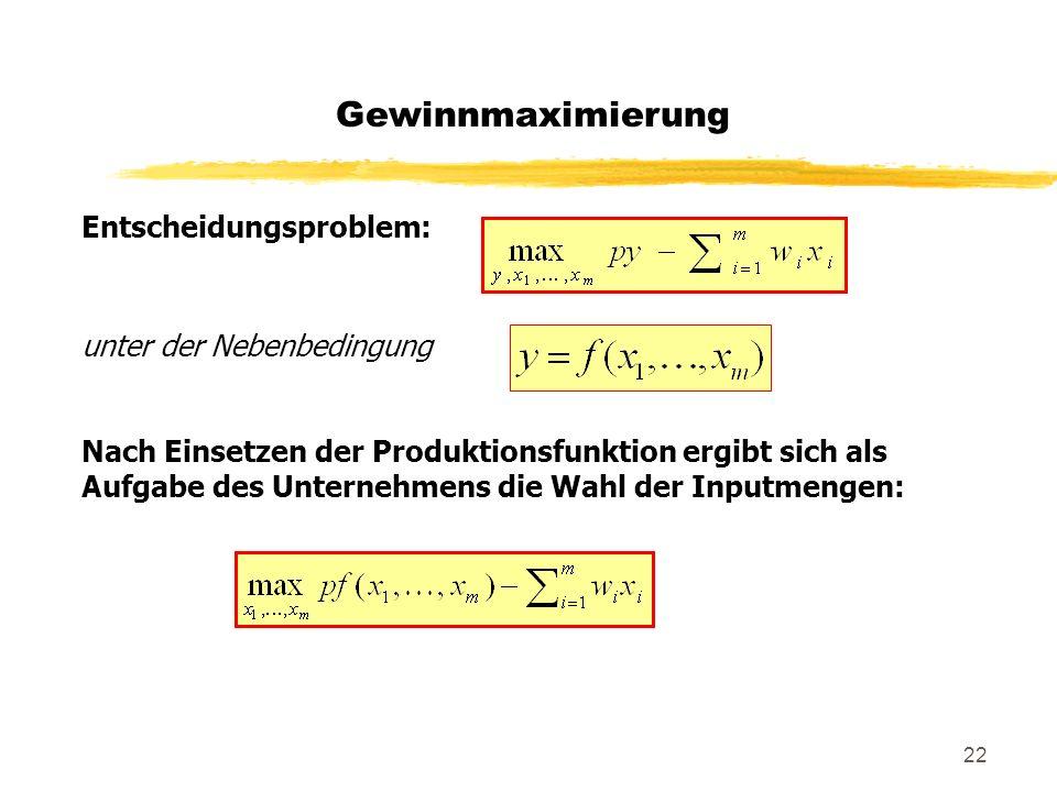 22 Entscheidungsproblem: unter der Nebenbedingung Nach Einsetzen der Produktionsfunktion ergibt sich als Aufgabe des Unternehmens die Wahl der Inputme