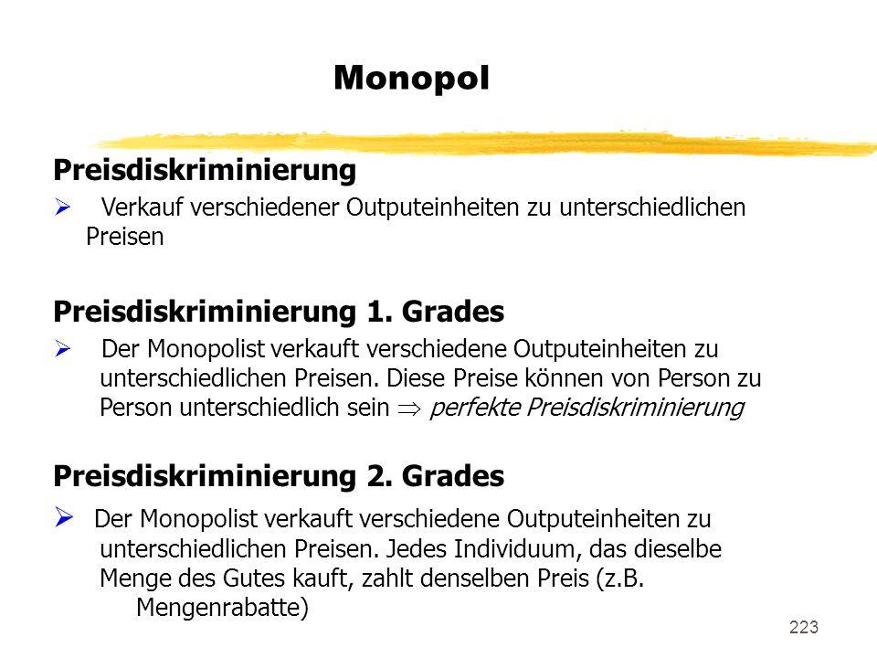 223 Monopol Preisdiskriminierung Verkauf verschiedener Outputeinheiten zu unterschiedlichen Preisen Preisdiskriminierung 1. Grades Der Monopolist verk