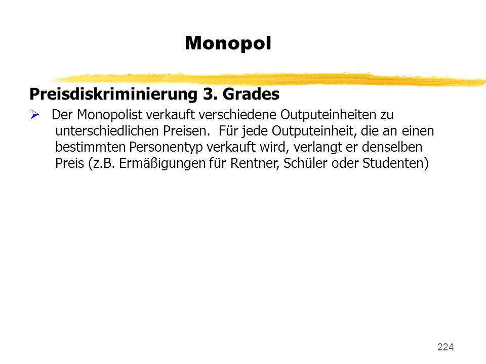 224 Monopol Preisdiskriminierung 3. Grades Der Monopolist verkauft verschiedene Outputeinheiten zu unterschiedlichen Preisen. Für jede Outputeinheit,