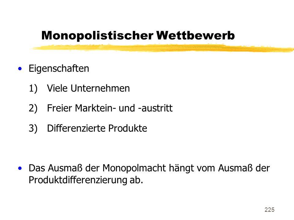 225 Monopolistischer Wettbewerb Eigenschaften 1)Viele Unternehmen 2)Freier Marktein- und -austritt 3)Differenzierte Produkte Das Ausmaß der Monopolmac