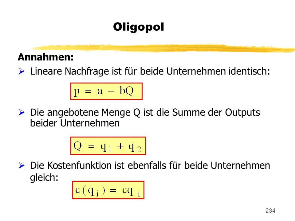 234 Oligopol Annahmen: Lineare Nachfrage ist für beide Unternehmen identisch: Die angebotene Menge Q ist die Summe der Outputs beider Unternehmen Die