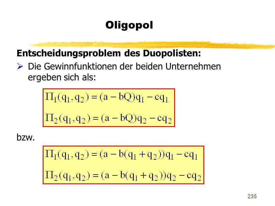 235 Oligopol Entscheidungsproblem des Duopolisten: Die Gewinnfunktionen der beiden Unternehmen ergeben sich als: bzw.