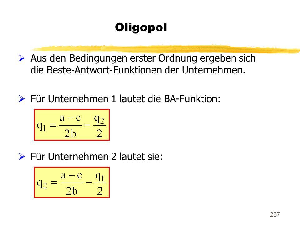 237 Oligopol Aus den Bedingungen erster Ordnung ergeben sich die Beste-Antwort-Funktionen der Unternehmen. Für Unternehmen 1 lautet die BA-Funktion: F
