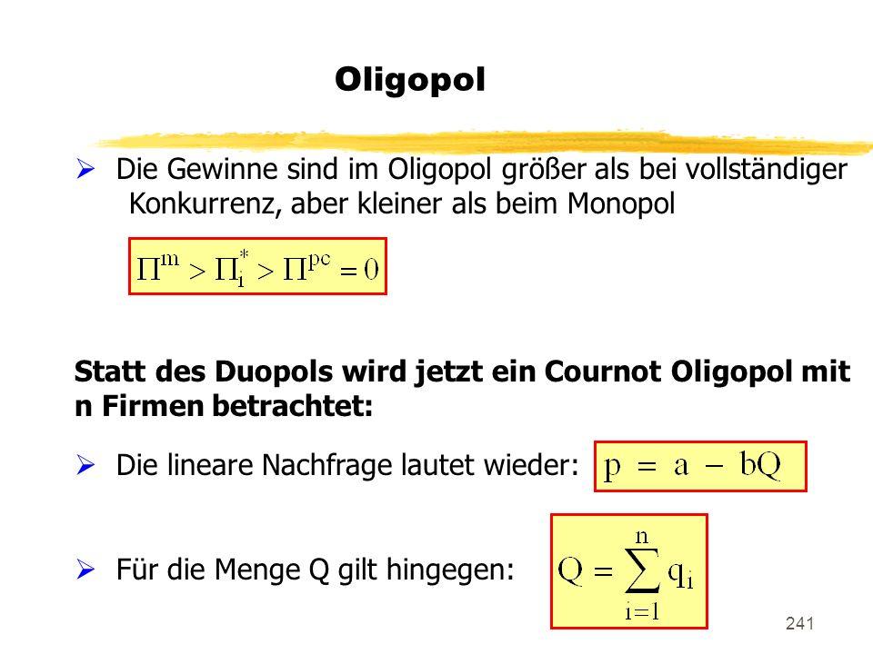 241 Oligopol Die Gewinne sind im Oligopol größer als bei vollständiger Konkurrenz, aber kleiner als beim Monopol Statt des Duopols wird jetzt ein Cour