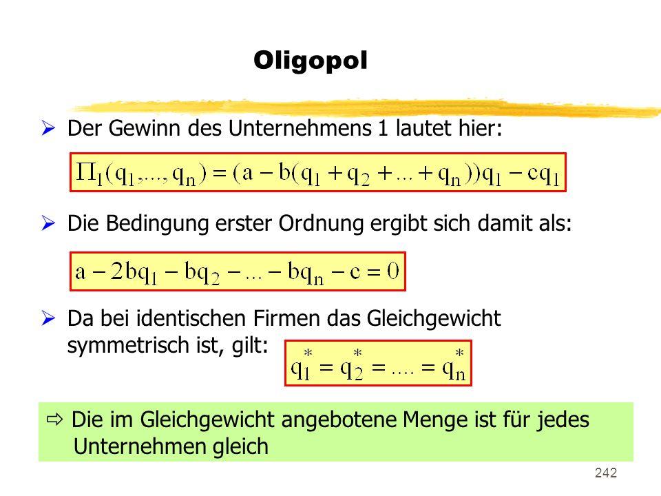242 Oligopol Der Gewinn des Unternehmens 1 lautet hier: Die Bedingung erster Ordnung ergibt sich damit als: Da bei identischen Firmen das Gleichgewich