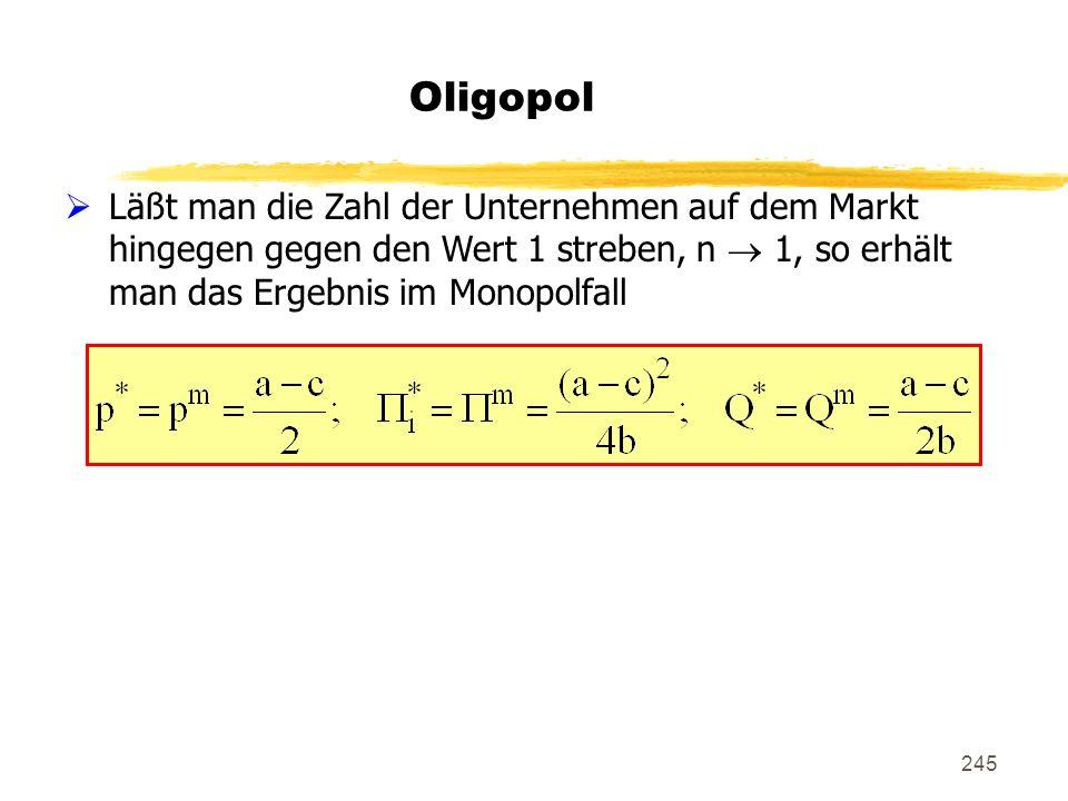 245 Oligopol Läßt man die Zahl der Unternehmen auf dem Markt hingegen gegen den Wert 1 streben, n 1, so erhält man das Ergebnis im Monopolfall