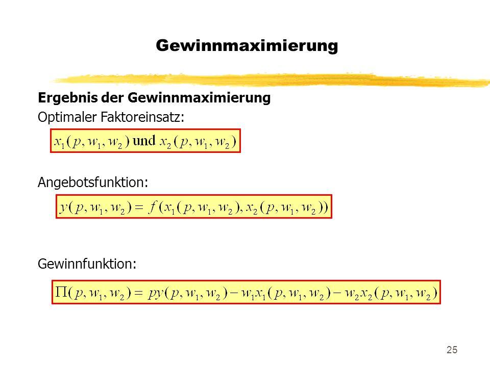 25 Ergebnis der Gewinnmaximierung Optimaler Faktoreinsatz: Angebotsfunktion: Gewinnfunktion: Gewinnmaximierung