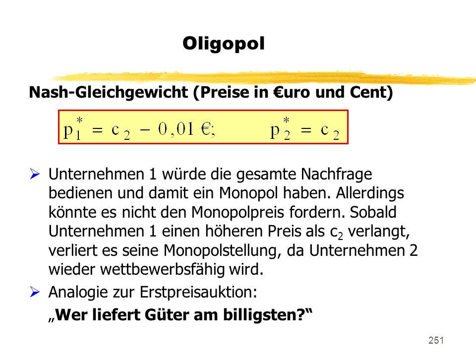 251 Oligopol Nash-Gleichgewicht (Preise in uro und Cent) Unternehmen 1 würde die gesamte Nachfrage bedienen und damit ein Monopol haben. Allerdings kö