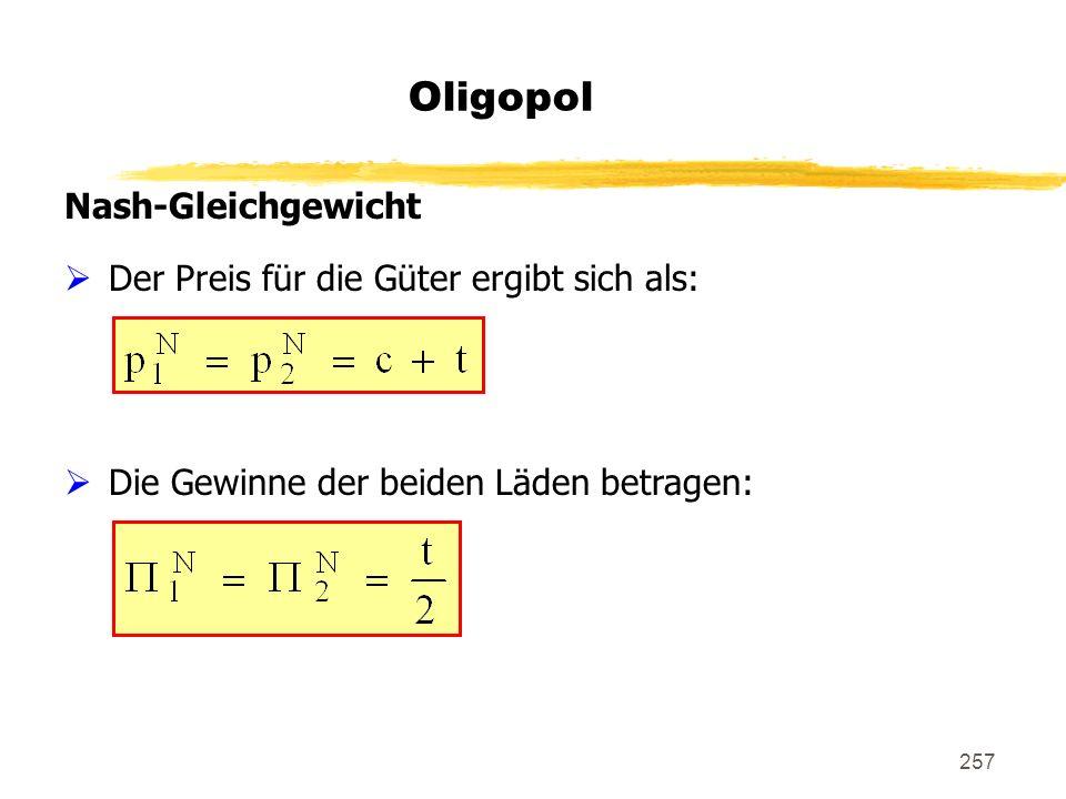 257 Oligopol Nash-Gleichgewicht Der Preis für die Güter ergibt sich als: Die Gewinne der beiden Läden betragen: