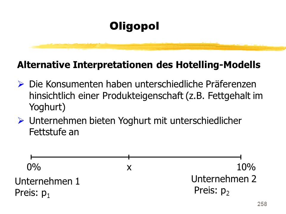 258 Oligopol Alternative Interpretationen des Hotelling-Modells Die Konsumenten haben unterschiedliche Präferenzen hinsichtlich einer Produkteigenscha